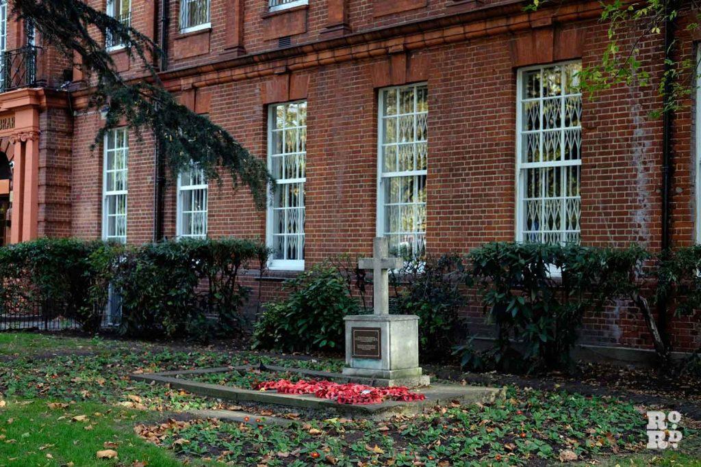 War memorial, Bethnal Green Library, East London