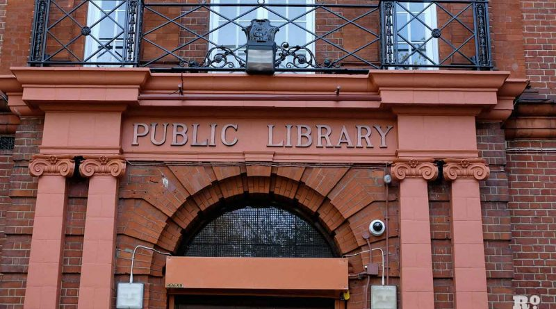 Public Library sign above door, Bethnal Green Library, East London