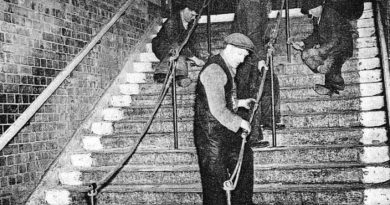 Archive photo of workers repairing stairs, Bethnal Green tube disaster.