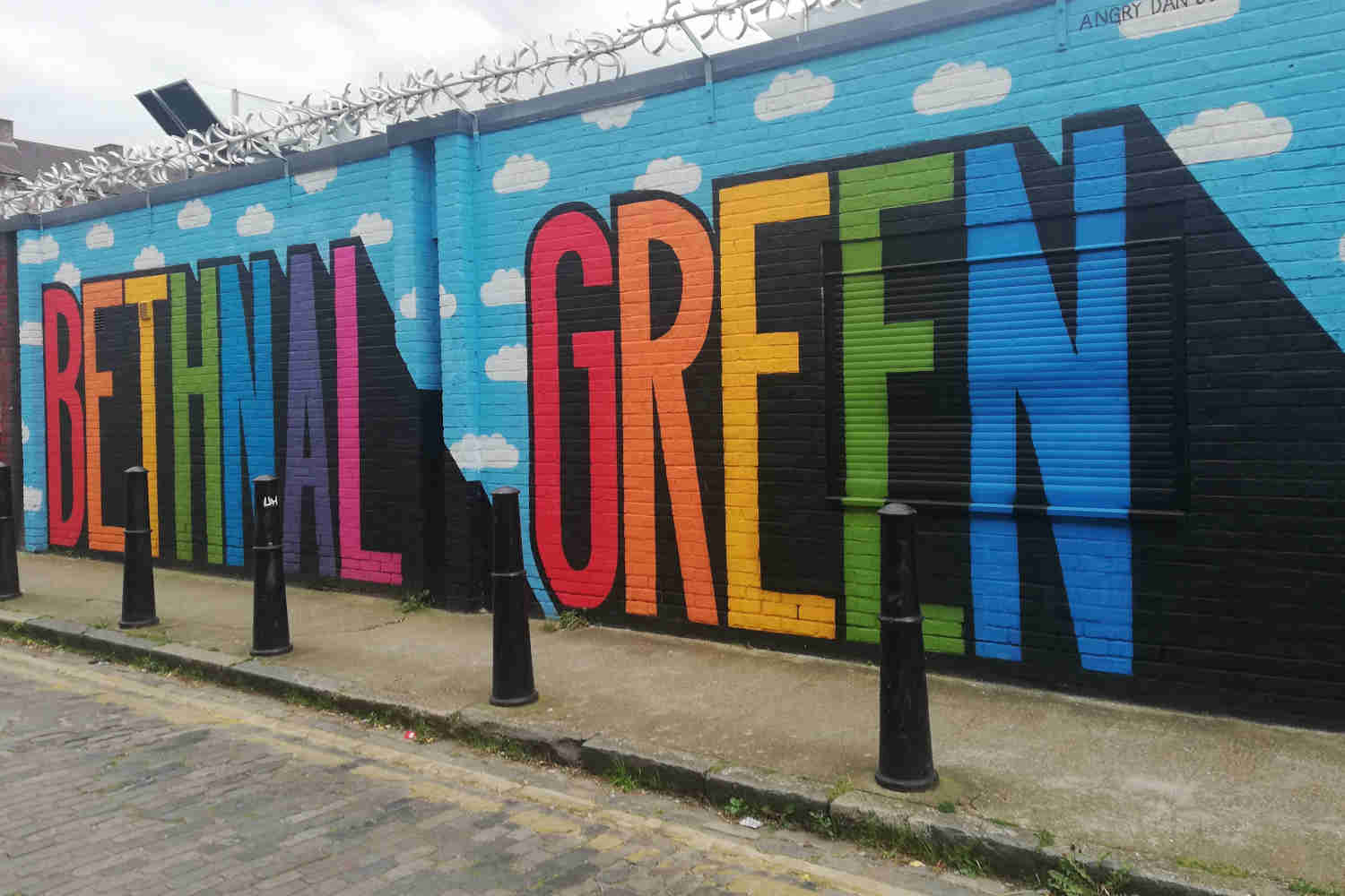 Rainbow-coloured lettering spelling out Bethnal Green, in Clare Street