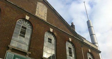 The Brick Lane Jamme Masjid with its sundial and minaret, Brick Lane, East London..